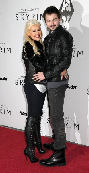 Christina Aguilera and Matt Rutler at the Skyrim video game launch held at the Belasco Theater in Los Angeles - 08 November 2011 FAMOUS  PICTURES AND FEATURES AGENCY  13 HARWOOD ROAD LONDON SW6 4QP  UNITED KINGDOM  FAM19397