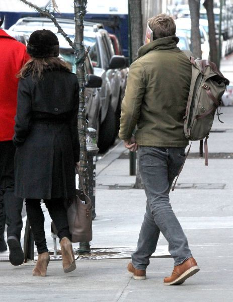 Eva Mendes and Ryan Gosling leaving their hotel in New York City - 02 January 2012 FAM43585