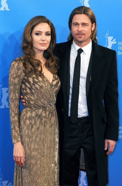"Angelina Jolie and Brad Pitt at the premiere of ""In the Land of Blood and Honey"" during the 62nd International Berlin Film Festival at Haus der Berliner Festspiele in Berlin - 11 February 2012   FAM43903"