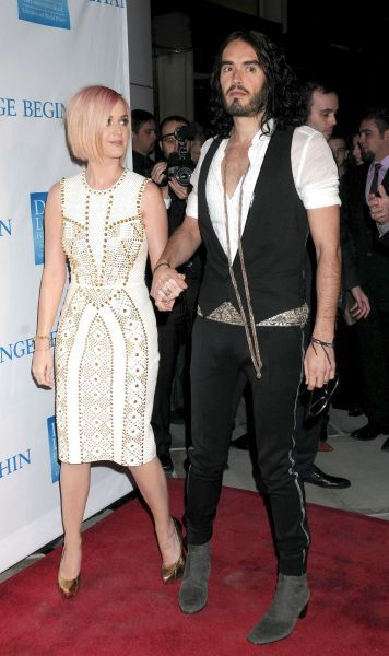 "Katy Perry and Russell Brand at the 3rd Annual ""Change Begins Within"" Benefit Celebration Presented by the David Lynch Foundation at the Los Angeles Times Central Court - 03 December 2011  FAMOUS PICTURES AND FEATURES AGENCY 13 HARWOOD"