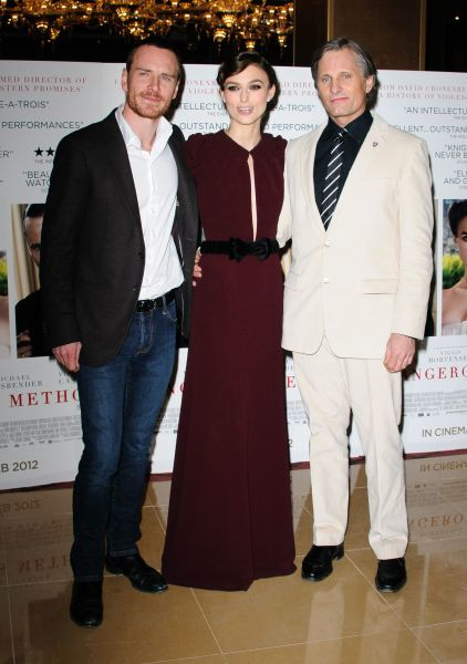 Michael Fassbender, Keira Knightly and Viggo Mortensen at the gala premiere of 'A Dangerous Method' in London - 31 January 2012 FAM43810