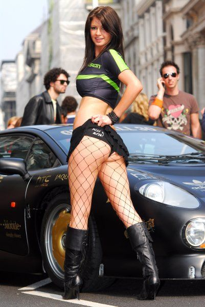 A model at the start of the Gumball Rally at Waterloo Place in London - 29 April 2007 FAMOUS PICTURES AND FEATURES AGENCY 13 HARWOOD ROAD LONDON SW6 4QP UNITED KINGDOM tel +44 (0) 20 7731 9333 fax +44 (0) 20 7731 9330 e-mail info@famous.uk.com www