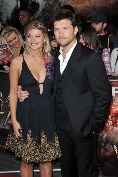 "Sam Worthington with Crystal Humphries at the premiere of ""Wrath of the Titans"" held at the BFI Imax in London - 29 March 2012 FAM44413"