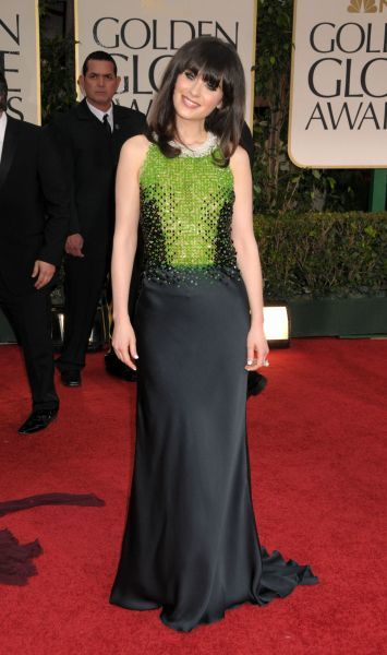 Zooey Deschanel at the 69th Annual Golden Globe Awards presented by the Hollywood Foreign Press Association at Hotel Beverly Hilton in Los Angeles - 15 January 2012  FAMOUS PICTURES AND FEATURES AGENCY 13 HARWOOD ROAD LONDON SW6 4QP UNITED KINGDOM